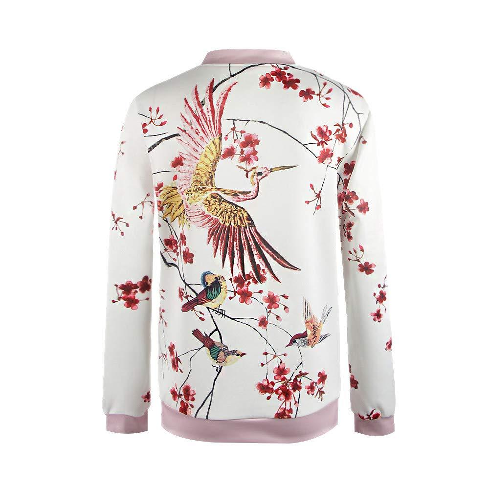 JESPER Women Swing Fashion Begonia Bird Print Baseball Bomber Jacket