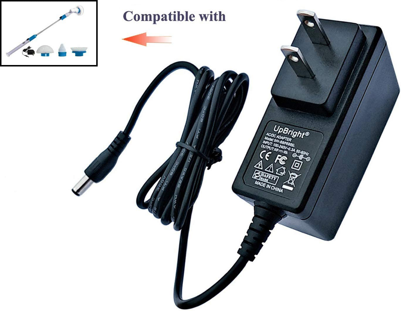 UpBright 8.5V AC/DC Adapter Compatible with Hurricane Spin Scrubber Brush Rechargeable Turbo Scrubber TeleBrands Corp Hurricane SpinScrubber Brush HSS1 HSSI JF-DY085030 8.5VDC 300mA Battery Charger