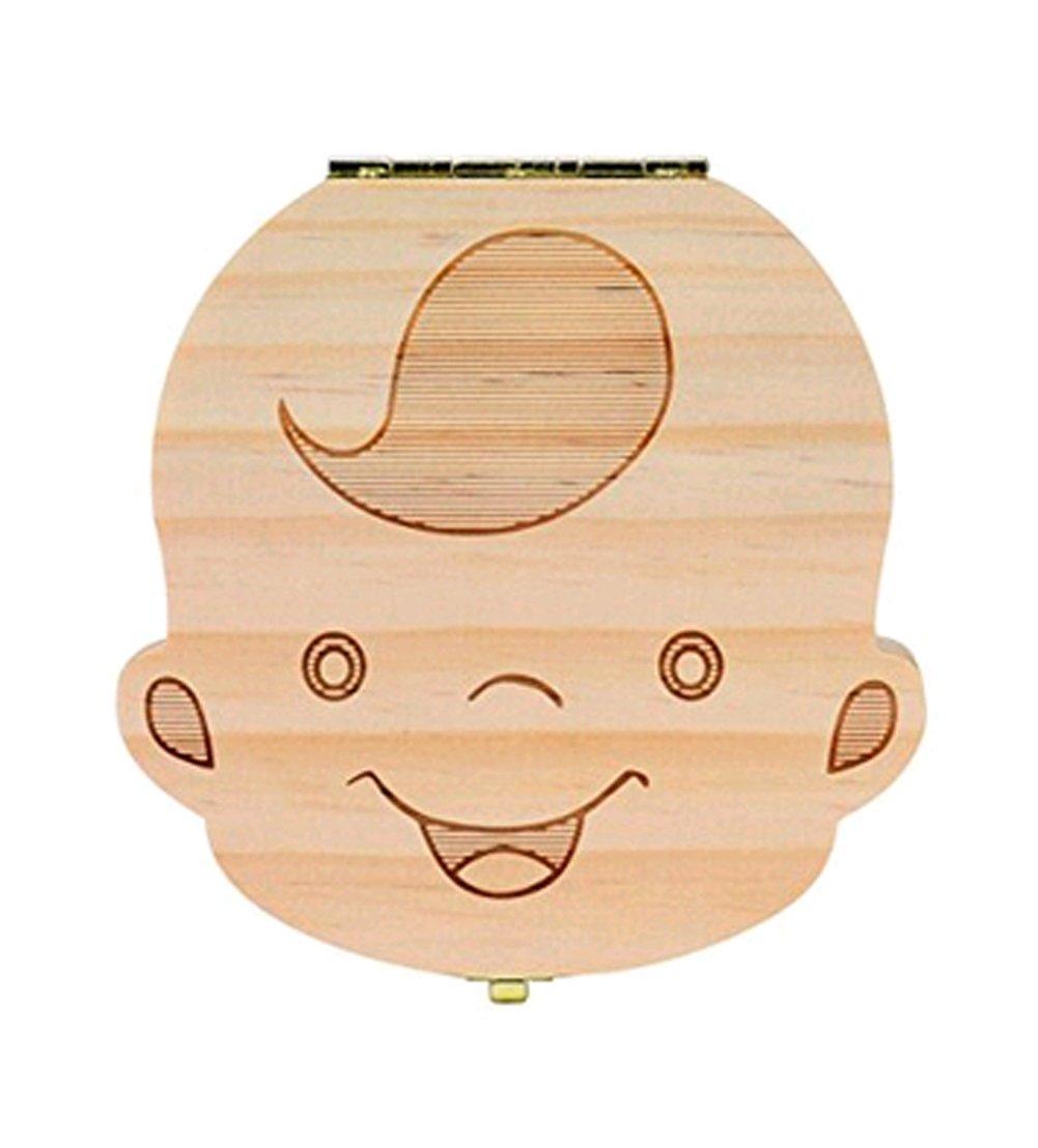Hosaire Boîte dents en Bois Boîte de Organisateur Pour Bébé Dents de lait Cadeau d'amour pour petit neveu version anglaise-Fill