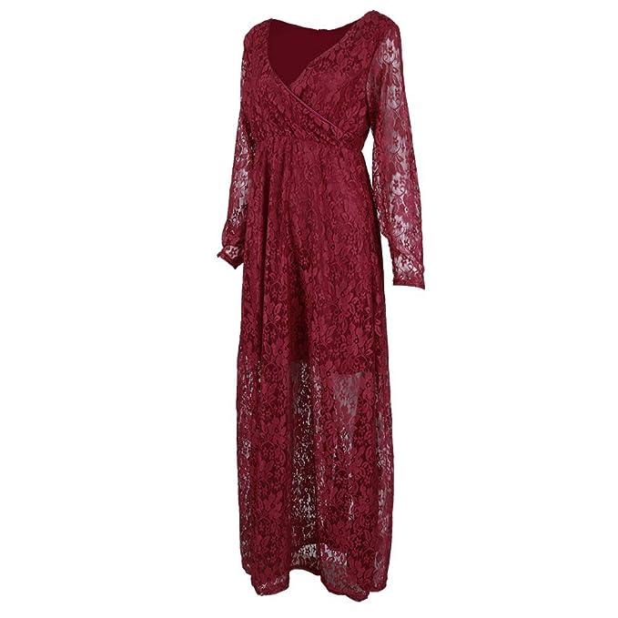 963e281c94 Casual zhbotaolang Women Maternity Maxi Dress-Off Shoulder Lace ...