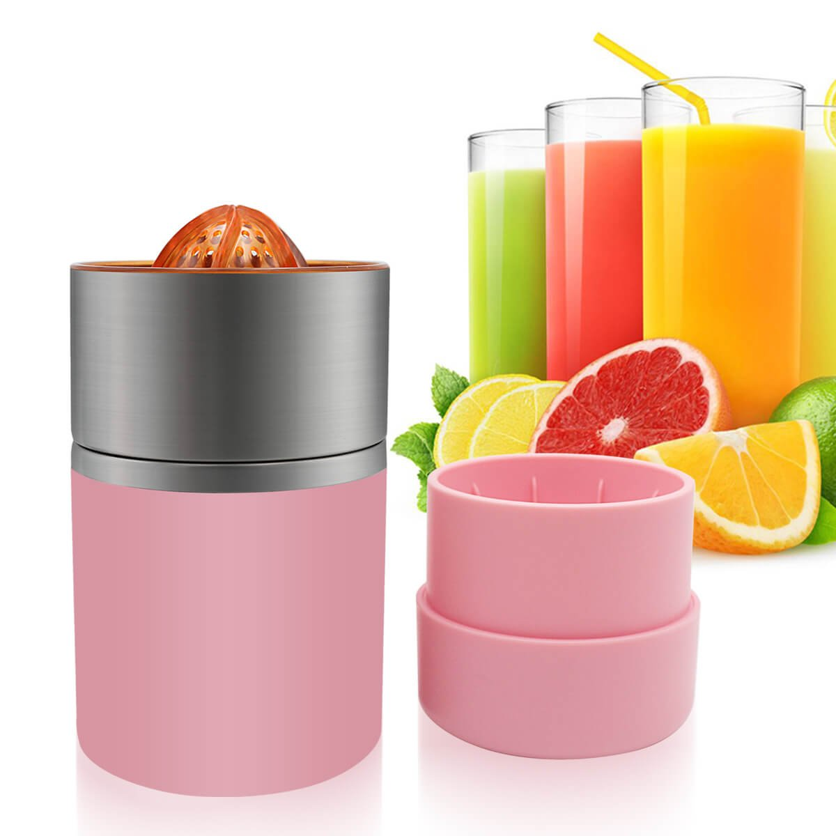 Manual Juicer Portable Citrus Juicer with Strainer and Stainless Steel Container for Oranges Lemons Pink Color Epro
