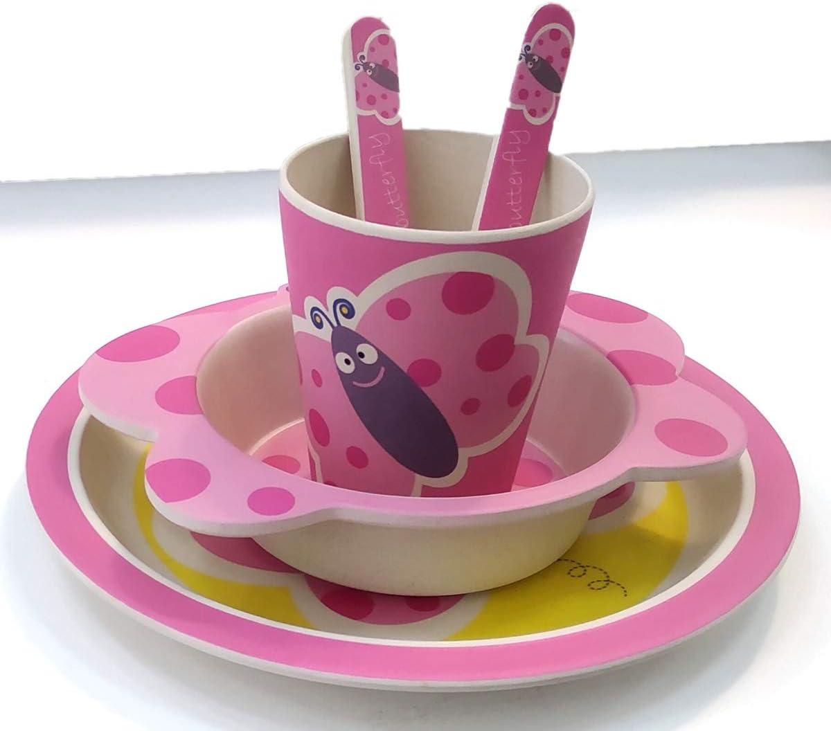 Apto para lavavajillas Vajilla de bamb/ú beb/é e Infantil B/úho Material ecol/ógico sin BPA Animales