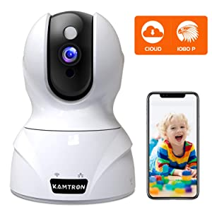 Security Camera 1080P Pet Camera - KAMTRON WiFi Home Security System for Office/Baby Monitor, 2.4Ghz PTZ Indoor IP Wireless Dome Camera with Night Vision, Two-Way Audio, Cloud Service Available, White