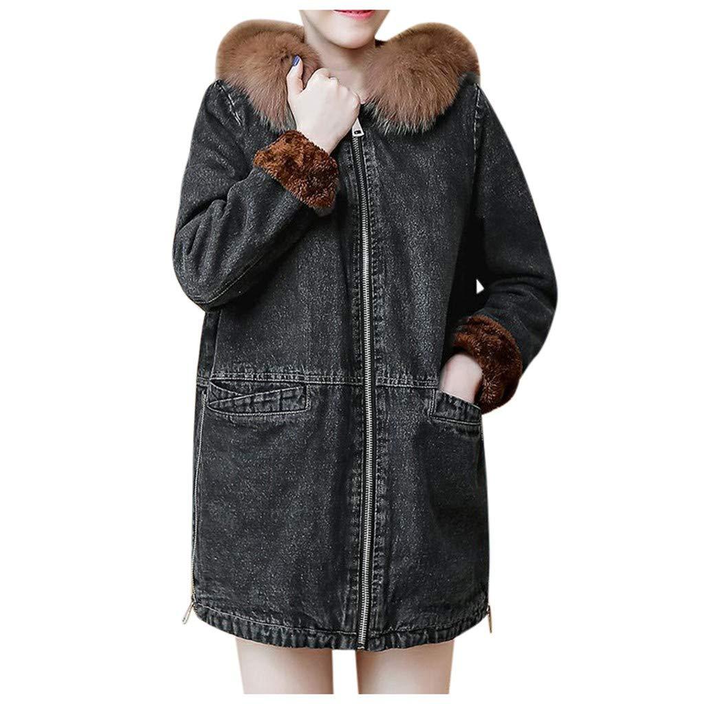 Alangbudu Women Thicken Denim Fluffy Plush Collar Jacket Jean Oversized Zip Outerwear Boyfriend Long Sleeve Coat Pocket by Alangbudu-Women's Long sleeve blouses & sweatshirts & hoodies