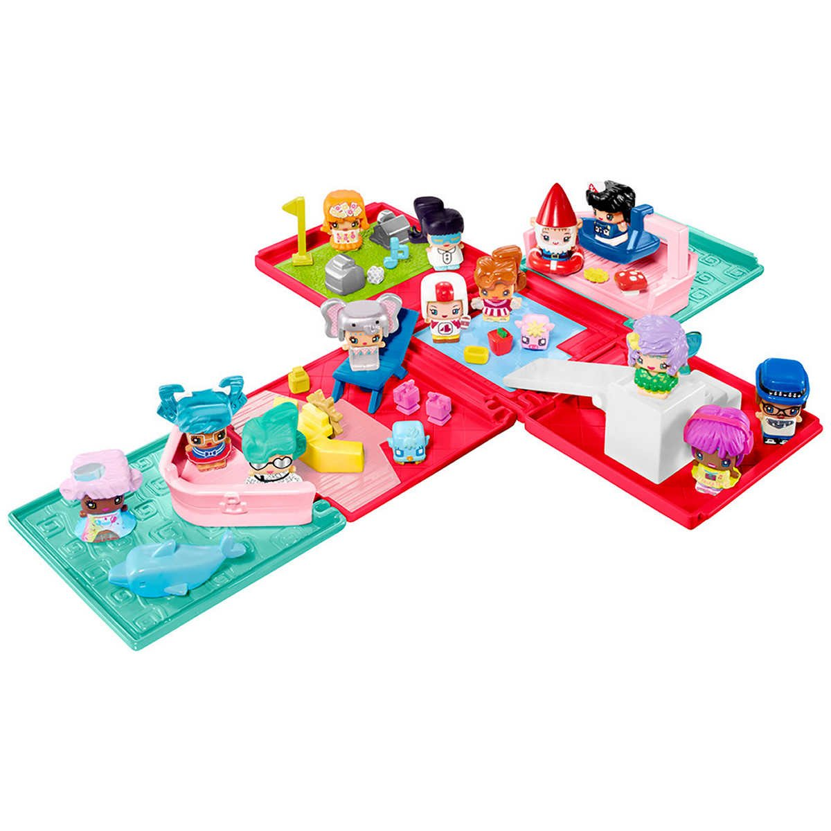 My mini mixie qs 16 figures cruise party playset with mystery figures features toy pets themed furniture moving parts hairstyles outfits and animal