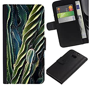 iBinBang / Flip Funda de Cuero Case Cover - Green Thorn Desert Plant - HTC One M8