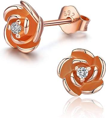 Amazon Com Rose Flower Stud Earrings S925 Rose Gold Plated Sterling Silver Earrings Dainty Flower Stud Earrings Hypoallergenic Earrings For Women Ladies Jewelry