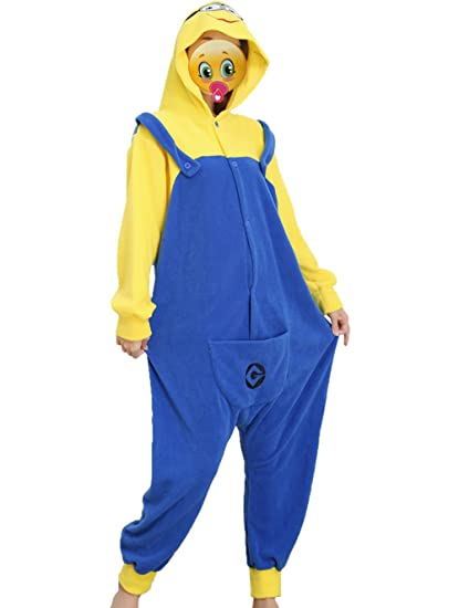Disfraz de Minion, forro polar, unisex, mono, pijama, disfraz con capucha