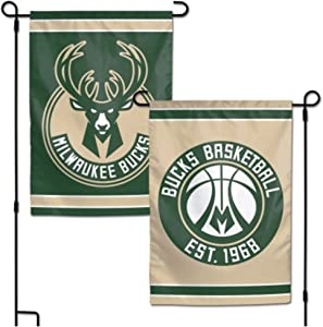 "Wincraft NBA Milwaukee Bucks 12.5"" x 18"" Inch 2-Sided Garden Flag Logo"