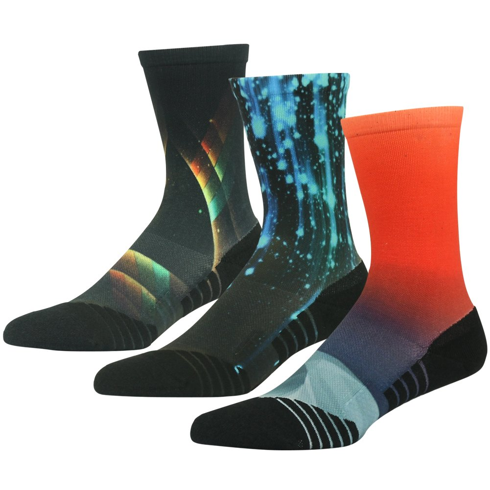 HUSO Men's Women's Unique Printed Arch Compression Support Basketball Football Crew Socks 3 Pairs Gift for Mother in Law (Multicolor, L/XL)