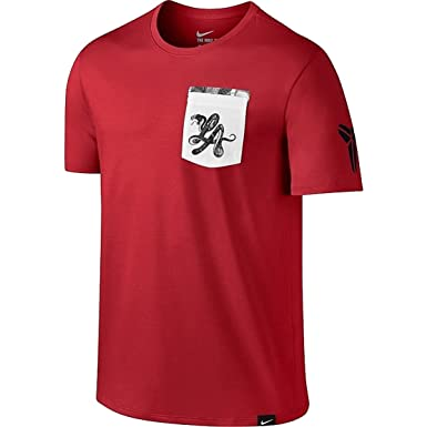 c226231c7 Image Unavailable. Image not available for. Color: Nike Men's Kobe LA Black  Mamba Pocket T-Shirt Red/White - Small