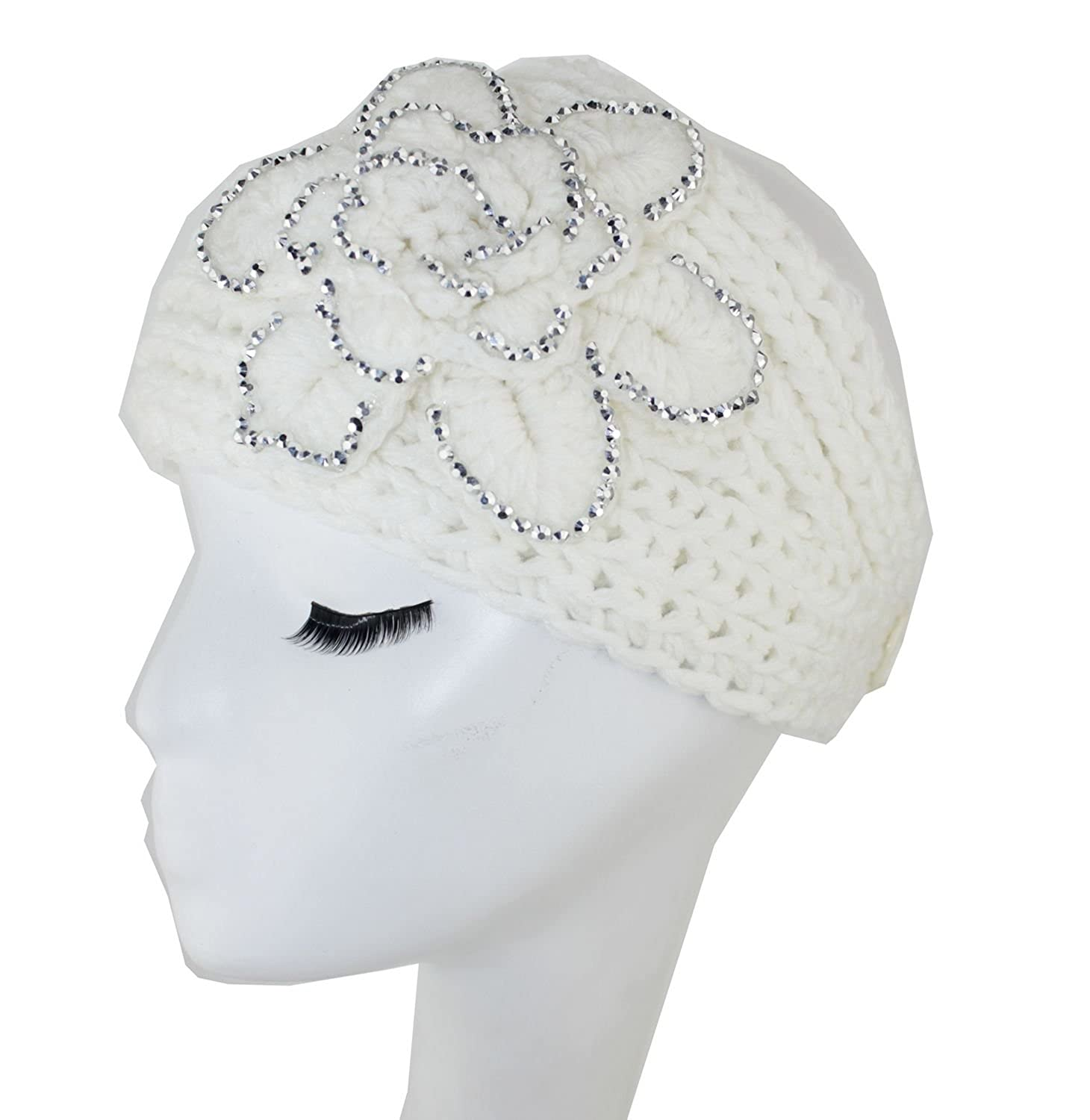 Wiipu Crochet Flower Headband Ear Warmer Winter Knit with Rhinestone (N75)beige