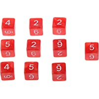 Blesiya Set/10pcs Red Six Sided Dungeons & Dragons D&D RPG Roleplay Game D6 Dices
