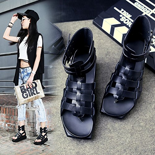 Xing Lin Ladies Sandals Sandals Women'S Platform At The End Of The New Summer Toe Casual Flat-Bottomed Boots Cool Tide Black