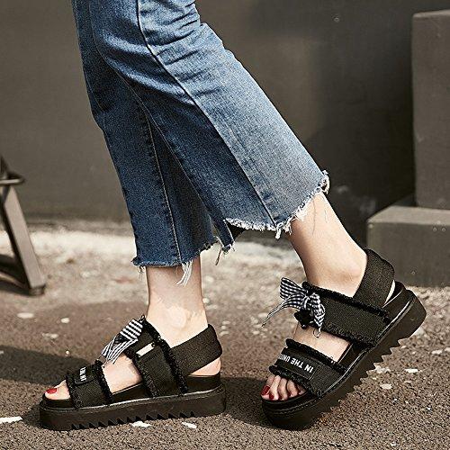 la de estudiante de grueso Open verano mujeres de Tamaño ZHIRONG Shoes Roma del de vendimia nudo 5CM las Color zapatos Blanco Beach mariposa UK3 Toe la sandalias de Negro CN35 5 EU36 fondo Sandalias qSwUYv0