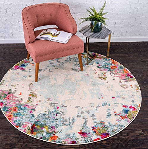 Unique Loom Chromatic Collection Modern Abstract Colorful Multi Round Rug (6' 0 x 6' 0) ()
