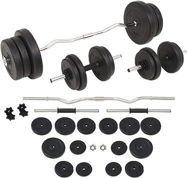 vidaXL Juego de Pesas 60kg Barra y Mancuernas Fitness Musculación ...
