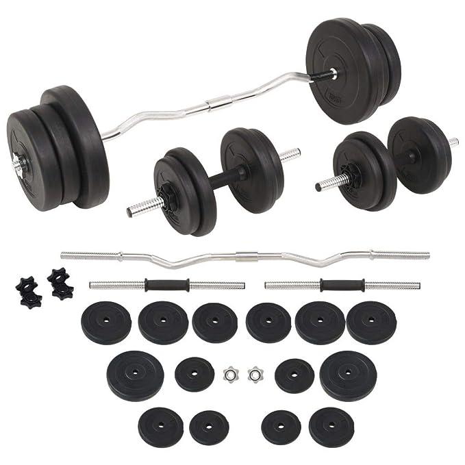 FZYHFA Conjunto de Pesas de Disco de Cemento + Barras de Acero diámetro de los Discos (5 kg) 25 cm, 60 kg Kit Halteres Negro: Amazon.es: Deportes y aire ...
