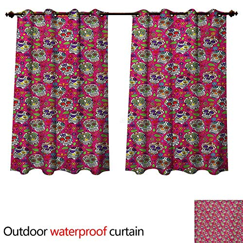 Skull 0utdoor Curtains for Patio Waterproof All Saints Day Religious Mexican Flowers Hearts Vibrant Design Print W63 x L63(160cm x 160cm) ()