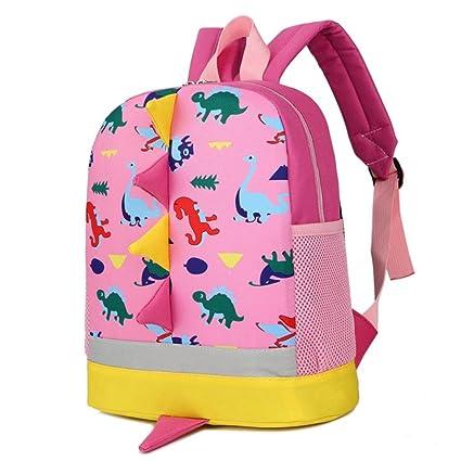 mochilas niña, Sannysis mochilas escolares juveniles, Patrón de dinosaurio (Rosa)
