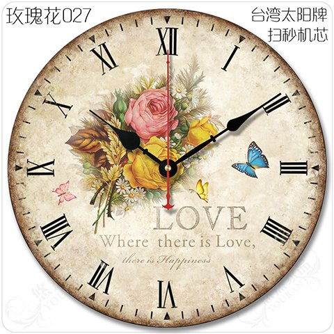 - Y-Hui Home Decor Rose Wall Clock, 12 Inch, Rose 027