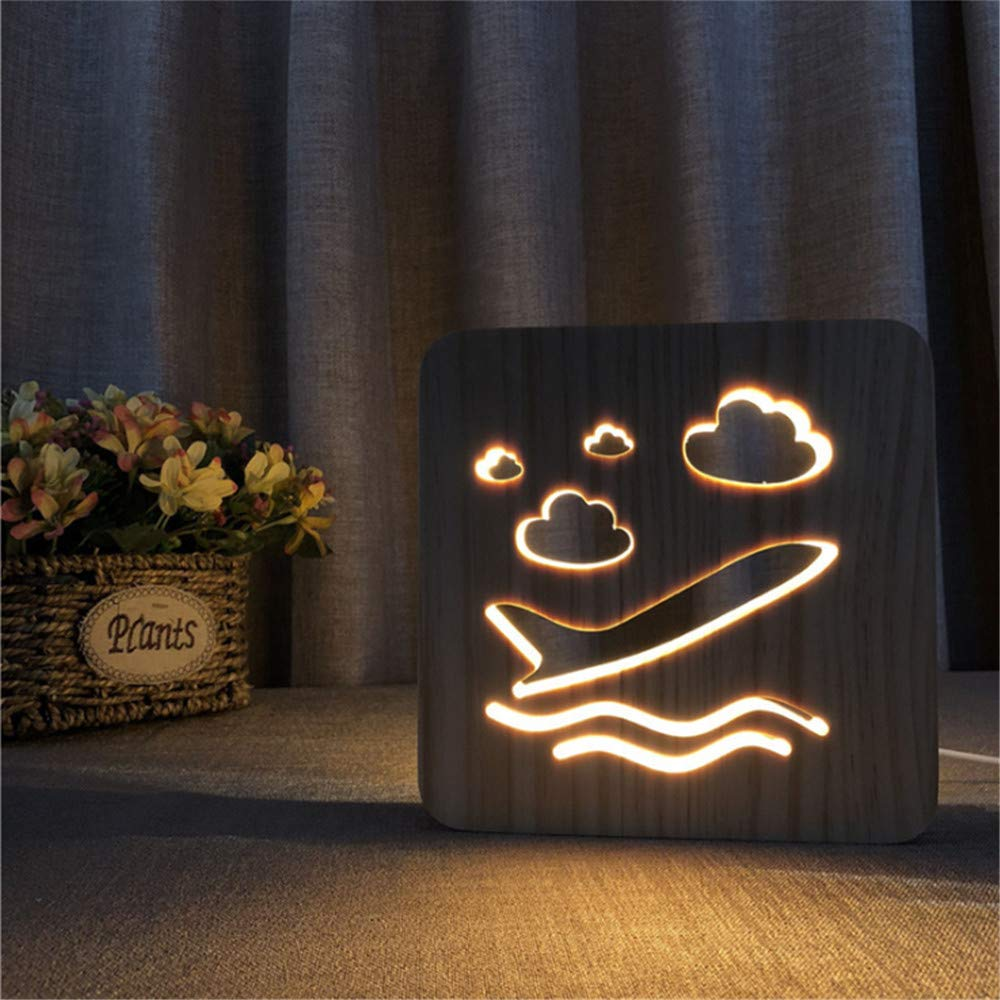 Night Light Kid Led Wooden Button Type 3D Wood Table Lamp USB Warm White, Space Shuttle