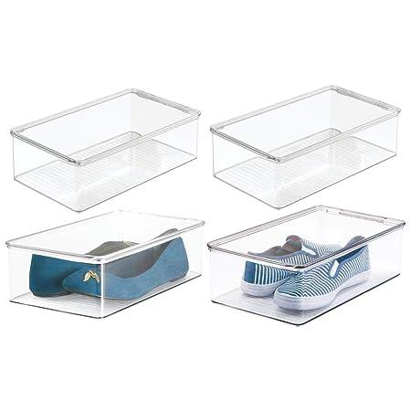 transparente mDesign Caja organizadora para ordenar armarios Caja de pl/ástico con tapa para proteger el contenido del polvo Organizador de ropa para armarios
