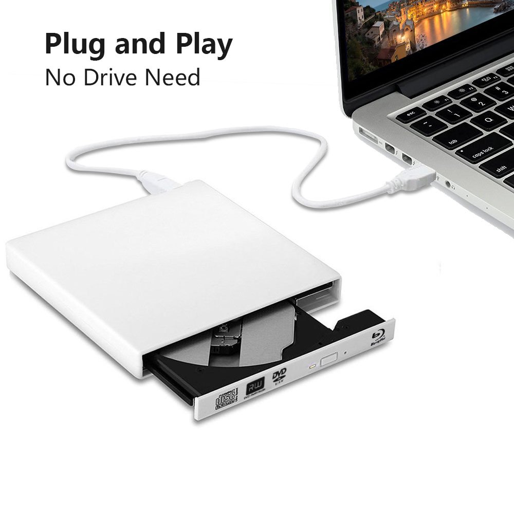 Juanery-External Blu-ray CD Drives,USB 2.0 blu-ray DVD CD drive/BD - ROM/DVD player for various brands of desktop, laptop, super notebook and so on (white) by Juanery (Image #3)