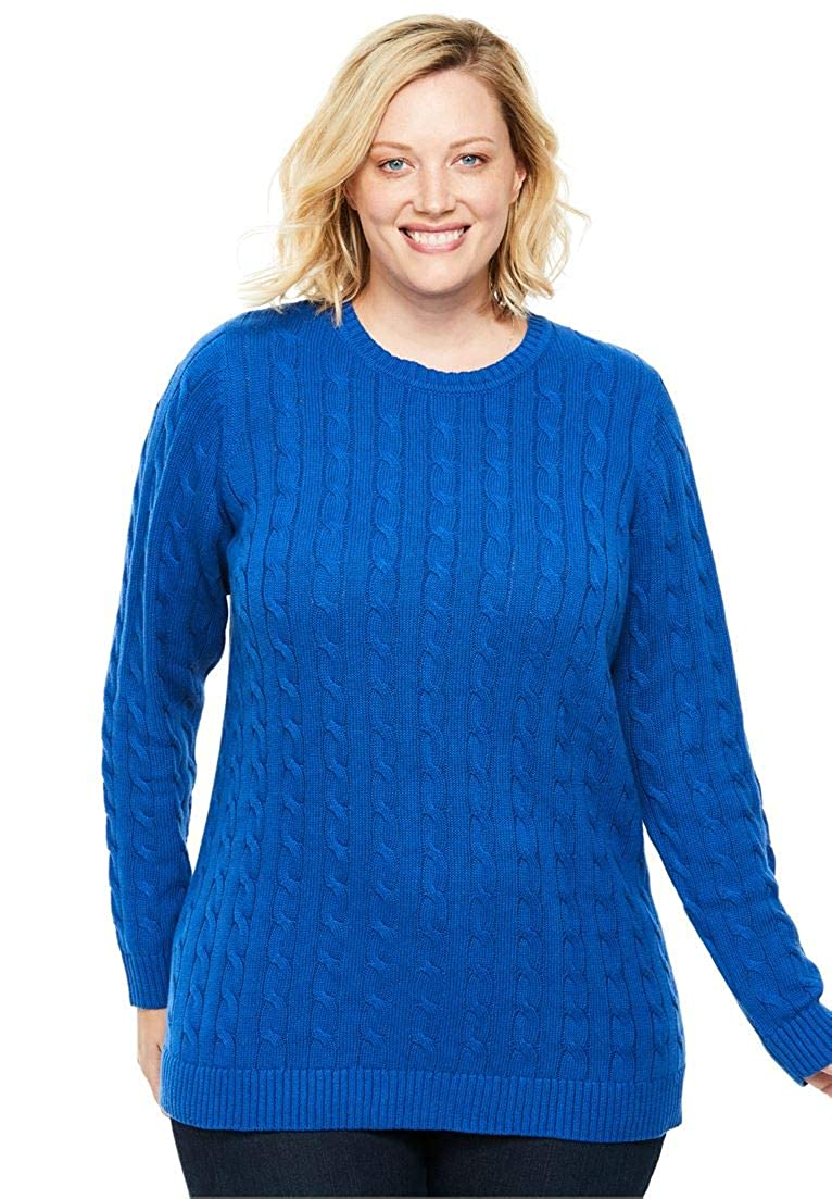 Woman Within Plus Size Cable Knit V-Neck Pullover Sweater