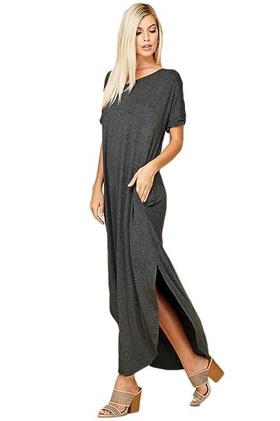 eaa12ba6c6 Annabelle Women s Casual Short Sleeve Curved Hem Split Pocket Maxi Dresses  with Pockets Small Mid Grey