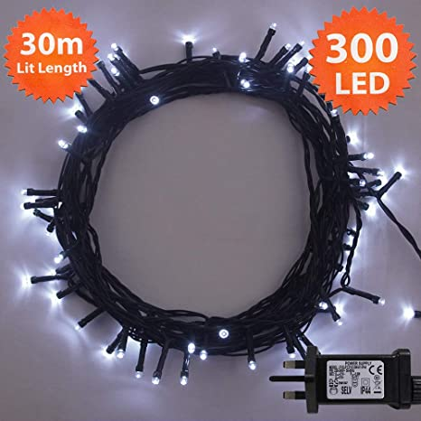 sneakers for cheap b8647 eb337 ANSIO Christmas Fairy Lights 300 LED Bright White Tree Lights 30m/98ft Lit  Length with 5m/16ft Lead Wire GREEN CABLE