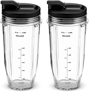 24oz Blender Cups with Sip & Seal Lids, Ninja Blender Replacement Parts Compatible with BL480, BL490, BL640, BL680 for Nutri Ninja Auto IQ Series Blenders (24oz)