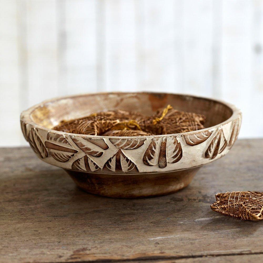 Comercio justo color blanco antiguo tallado madera de mango cuenco