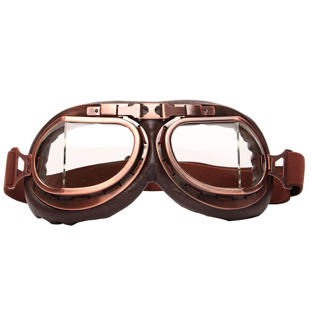 Finance Plan Vintage Men Women Outdoor Sports Wind-Proof Glasses Motorcycle Goggles Eyewear - Clear Lens