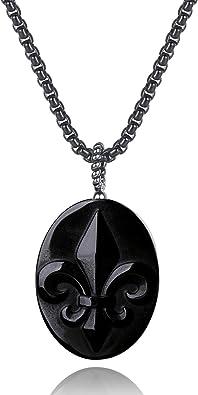 coai OM Black Obsidian Stone Prayer Pendant Necklace