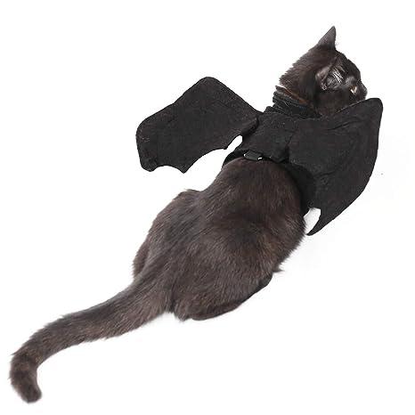 Ohana Pet Cat Halloween alas Disfraz Perro Bate alas arnés para Gatos y Perros pequeños Negro