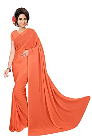 54bbf9506e Madhav Textile Women's Solid Plain Georgette saree With Unstitched Blouse  Piece: Amazon.in: Clothing & Accessories