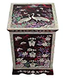 Mother of Pearl Red Colored Asian Lacquer Women Wooden Jewelry Trinket Keepsake Treasure Gift Girls Ring Necklace Box Chest Case Storage Organizer with Flower and Crane Design