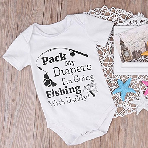 G-real Infant Baby Boys Girls Funny Letter Fish Print Tops Short Sleeve Romper Jumpsuit For 0-24M