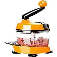 BESTONZON Manual Food Processor Vegetable Chopper Meat Grinder Hand Crank Blender (Orange)