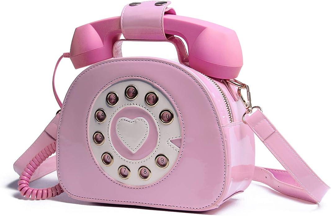 1950s Handbags, Purses, and Evening Bag Styles Oweisong Women Telephone Shaped Handbag and Purses Retro Phone Top-Handle Shoulder Bags Crossbody Totes $24.98 AT vintagedancer.com