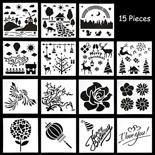 OOTSR 15pcs Scrapbook Stencils Templates, Soft Plastic Painting Template with Different Patterns for Scrapbooking/Card/Wood/Stone/Fabric/Airbrush/Walls Art/DIY Craft (5.12