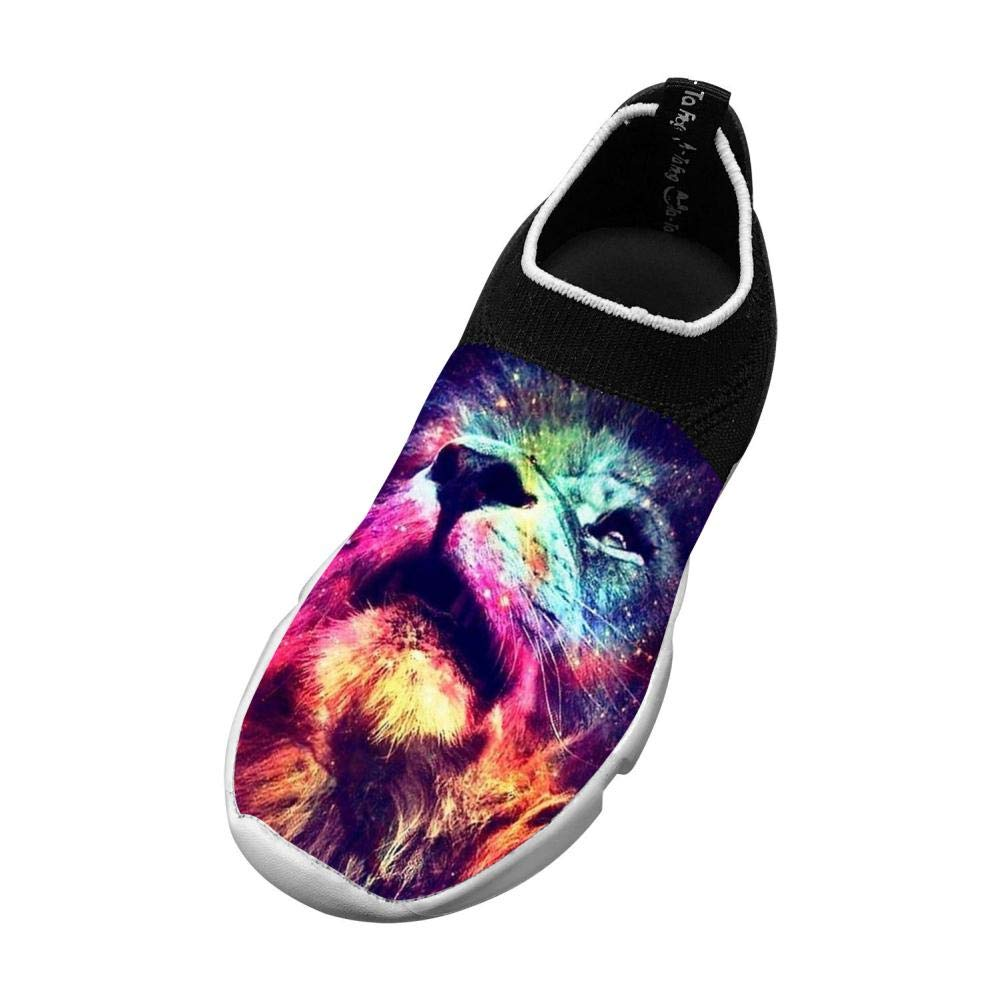 MREIO Rainbow Lion Childrens Lightweight Fly Knit Shoes Leisure Loafers Sneakers Gym Shoes For Boys For Girls