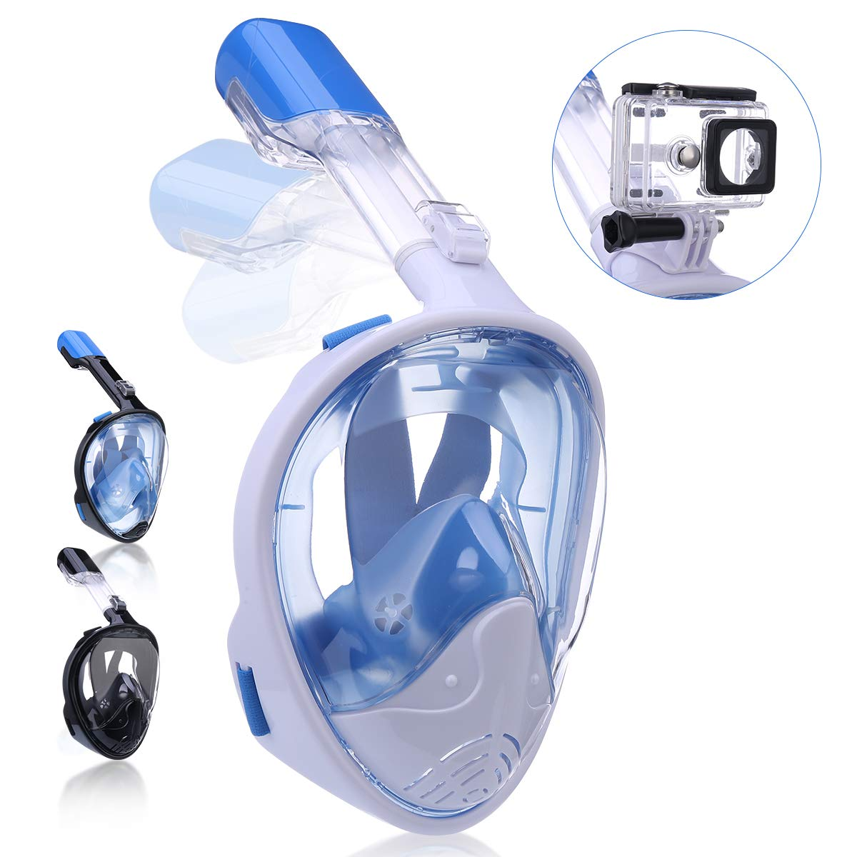 QingSong Snorkel Mask Full Face, Snorkeling Mask for Adults and Kids with Detachable Camera Mount, 180 Degree Large View Free Breath Dry Top Set Anti-Fog Anti-Leak Anti-UV