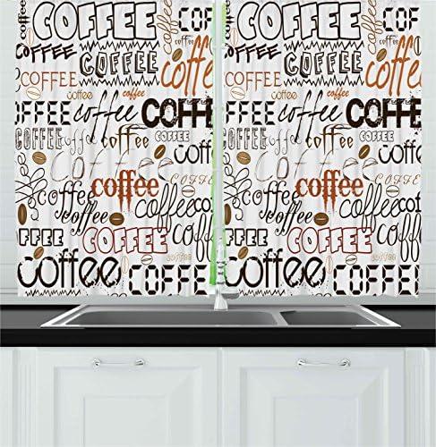Ambesonne Coffee Kitchen Curtain