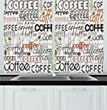 Designs of Kitchen Window Curtains Ambesonne Coffee Decor Collection, Coffee Letterings Morning Time Drink Aroma Traditional Typographic Stylized Illustration, Window Treatments for Kitchen Curtains 2 Panels, 55X39 Inches, Black Brown