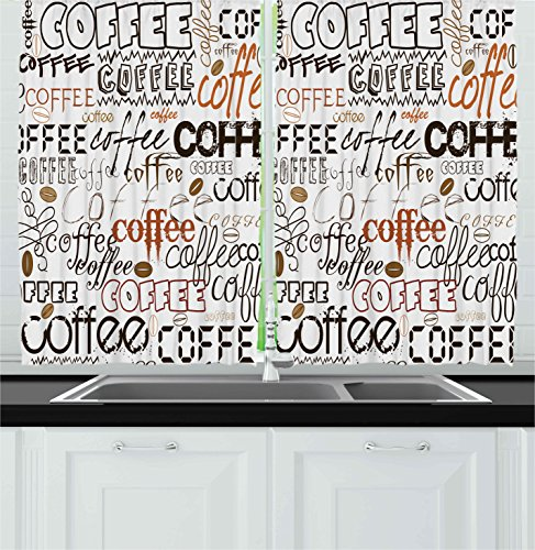Ambesonne Coffee Decor Collection, Coffee Letterings Morning