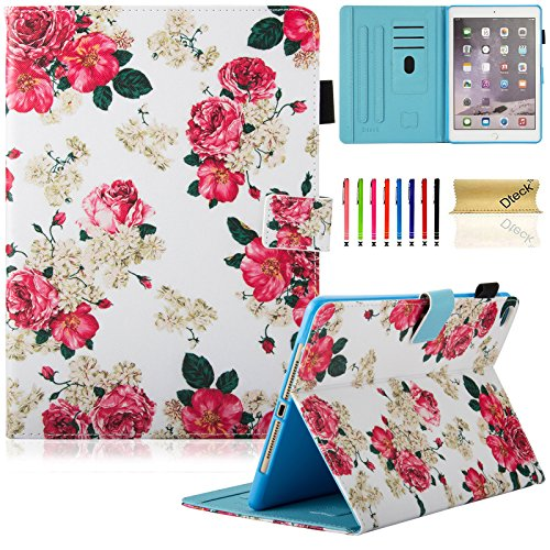 Dteck iPad 9.7 inch 2018 2017 Case/iPad Air Case/iPad Air 2 Case - Multi-Angle Viewing Auto Wake/Sleep Folio Smart Cover Stand Wallet Case for Apple iPad 9.7 inch 2017/2018,iPad Air 1 2,Rose