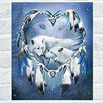 dds5391 White Wolf Love Shiny Resin Diamond Painting Kit DIY Handmade Home Wall Decor