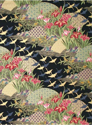 Cranes over Floral Landscape: Black Asian Japanese Fabric with Gold Metallic (By the Yard) ()